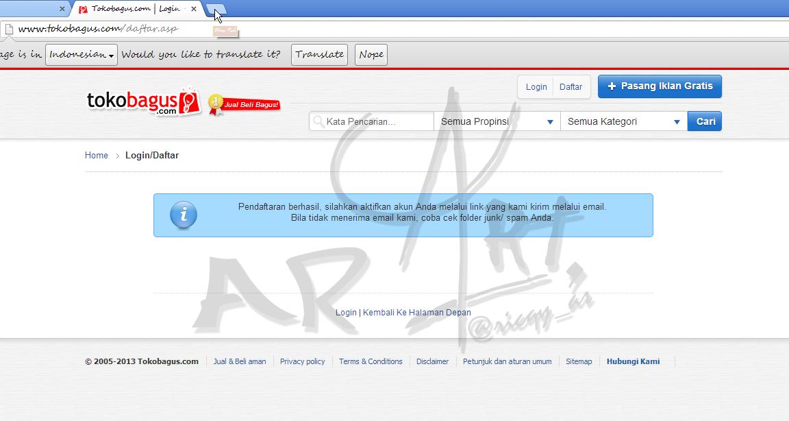 email dari nereply@tokobagus.com . Double klik